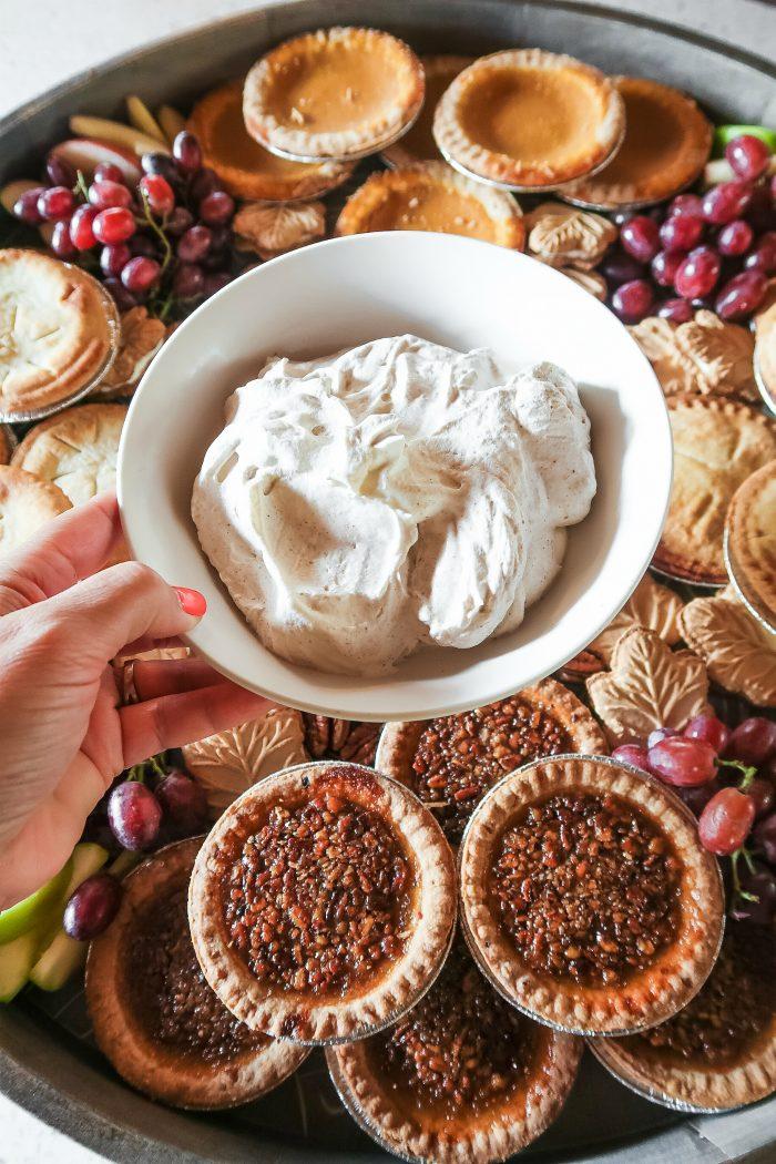 Fall Mini Pie Dessert Board - whipped cream