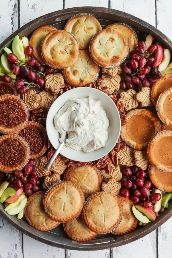 round board with mini fall pies