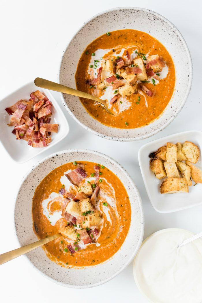 Bowl of Orange Basil Tomato Soup