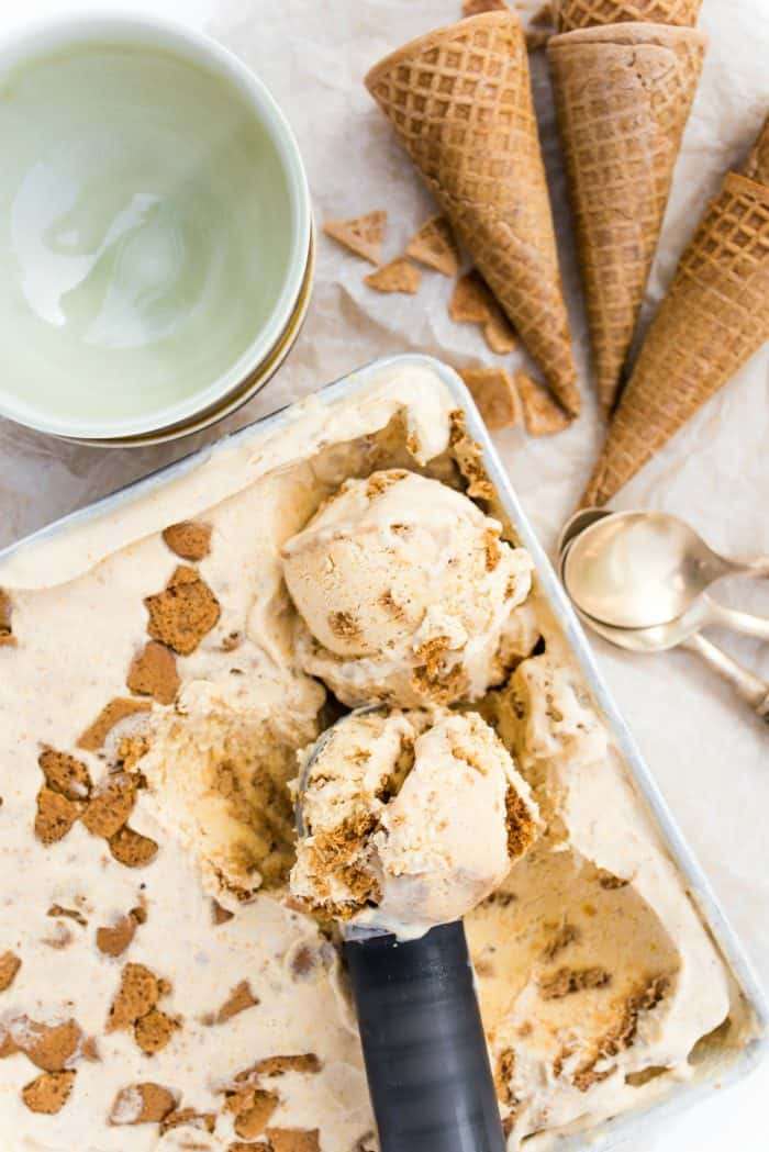 Pumpkin No-Churn Ice Cream with Ginger Snap Cookies