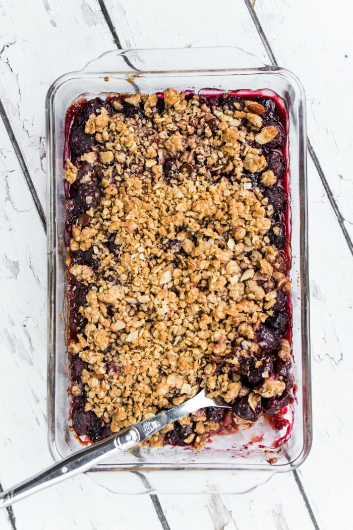Simple Cherries and Chocolate Almond Crisp