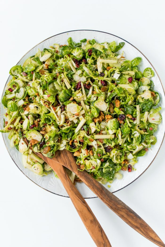 Light Waldorf Brussels Sprout Salad