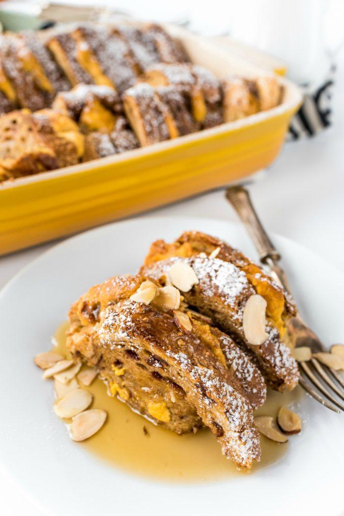 BEST Pumpkin Maple French Toast Bake
