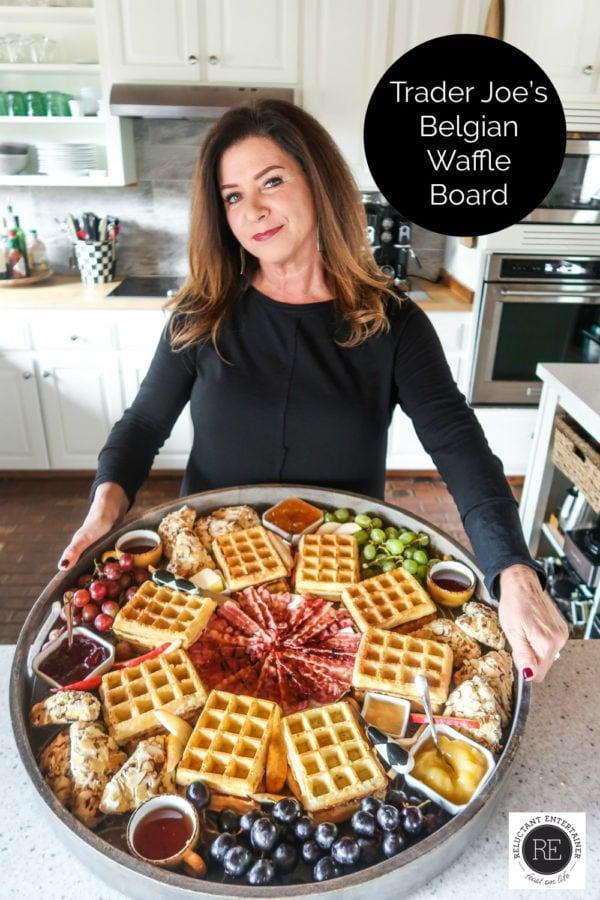 woman holding a large waffle board