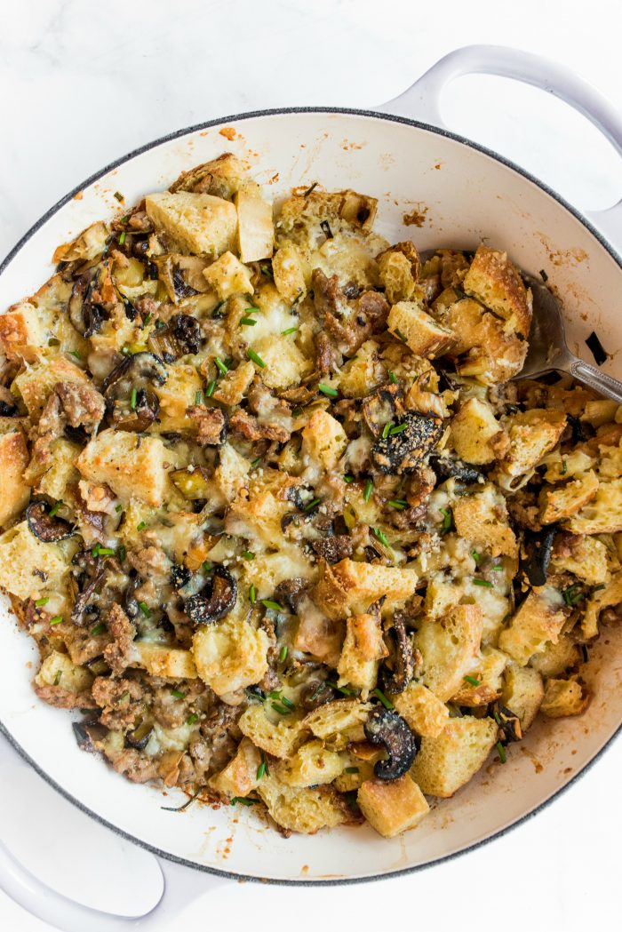 Leek Sausage Bread Pudding
