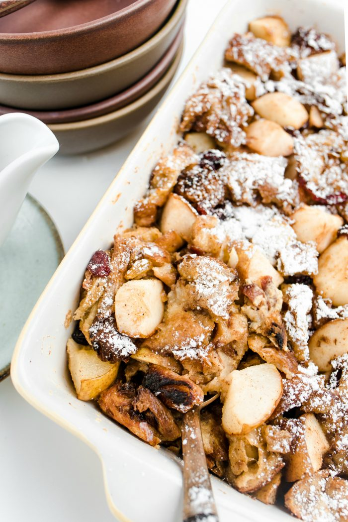 HOLIDAY Pear Croissant Breakfast Casserole