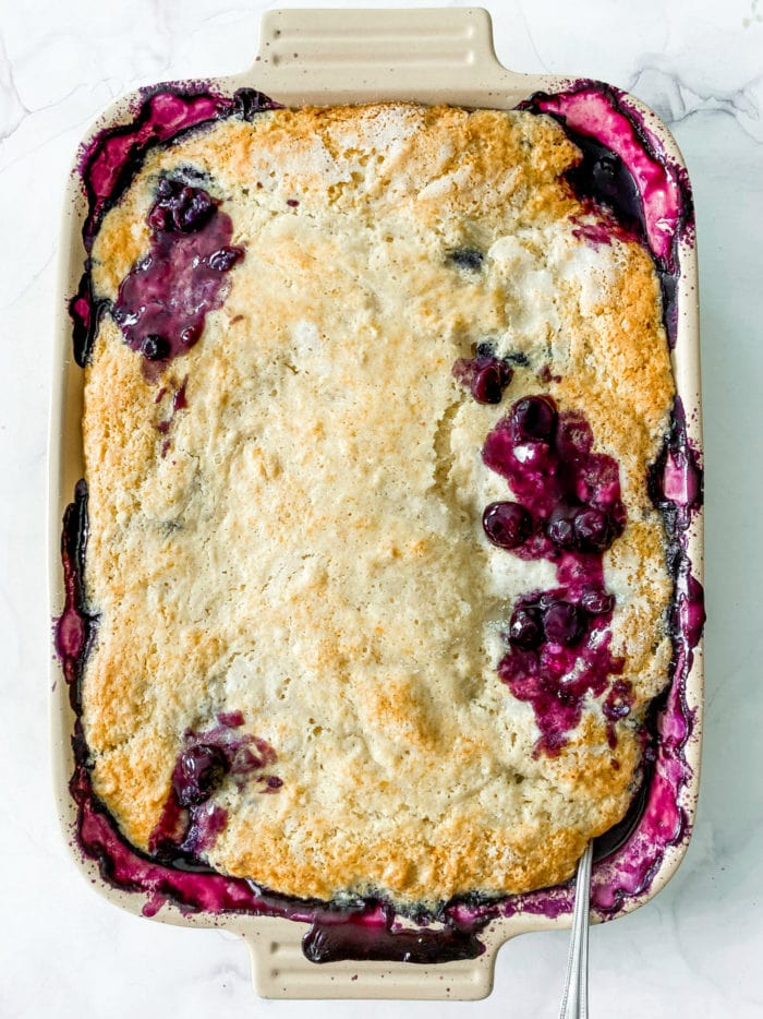9x13 pan of cooked, juicy blueberry cobbler
