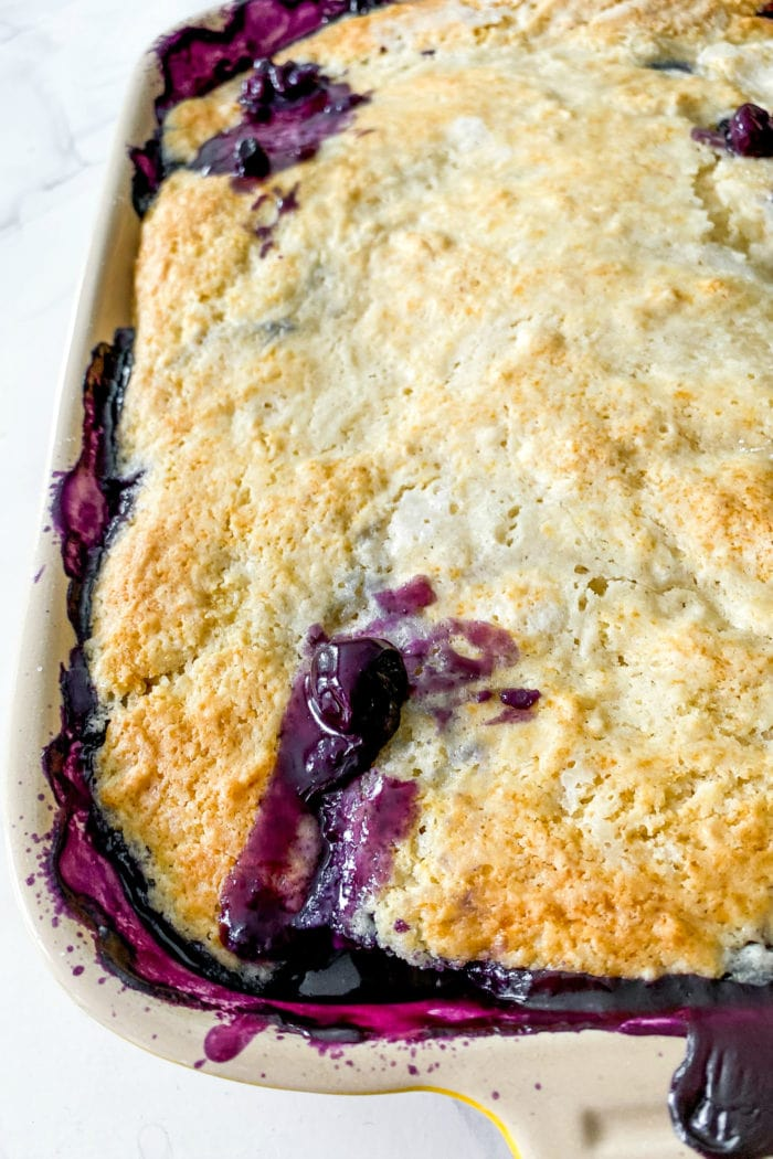 close up of hot of the oven blueberry cobbler