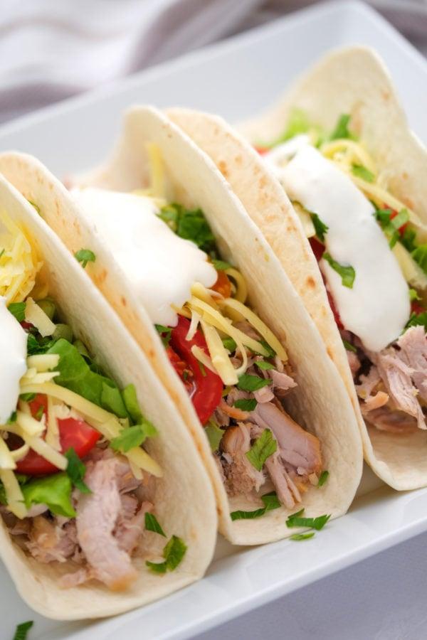3 tacos with 2-Ingredient Crock Pot Pork Verde