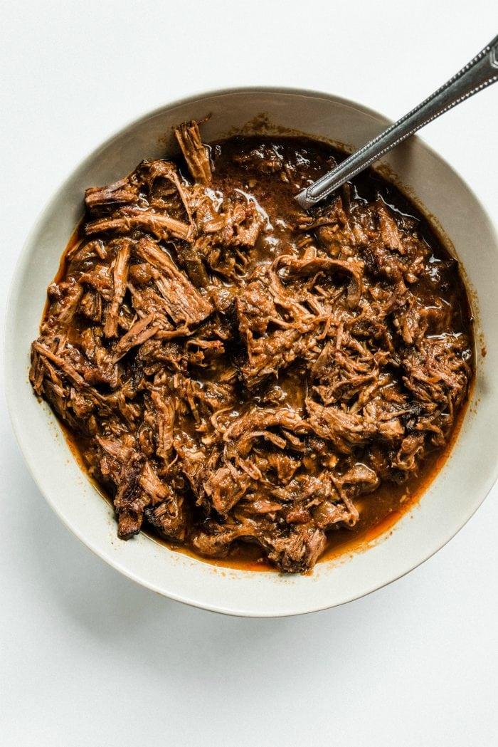 big bowl of shredded chuck roast