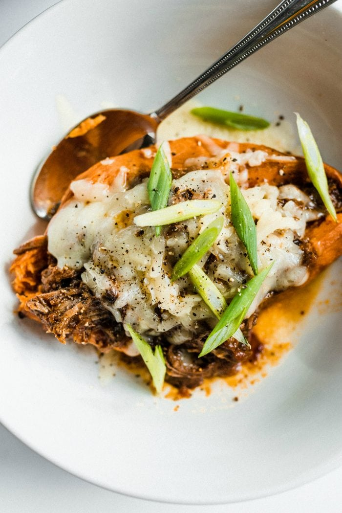 sweet potato open face with chuck roast, cheese, and chives