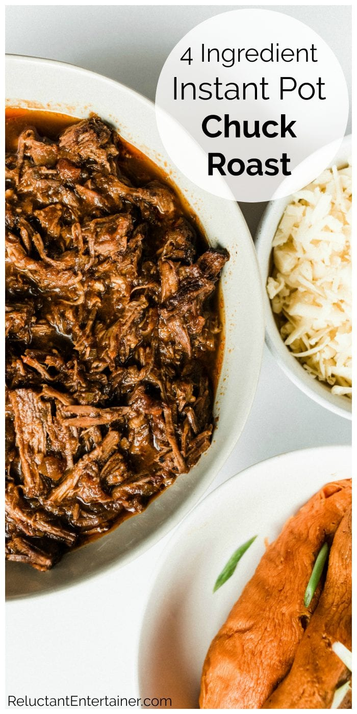 bowl of instant pot chuck roast with 2 other bowls of cheese and sweet potatoes