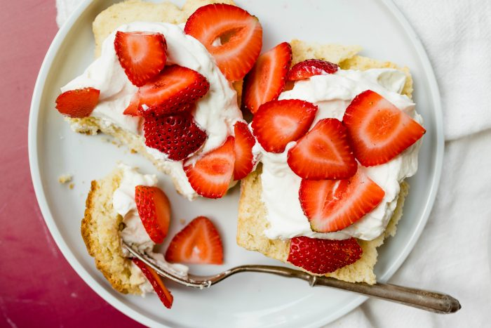 deconstructed strawberry shortcake with a fork