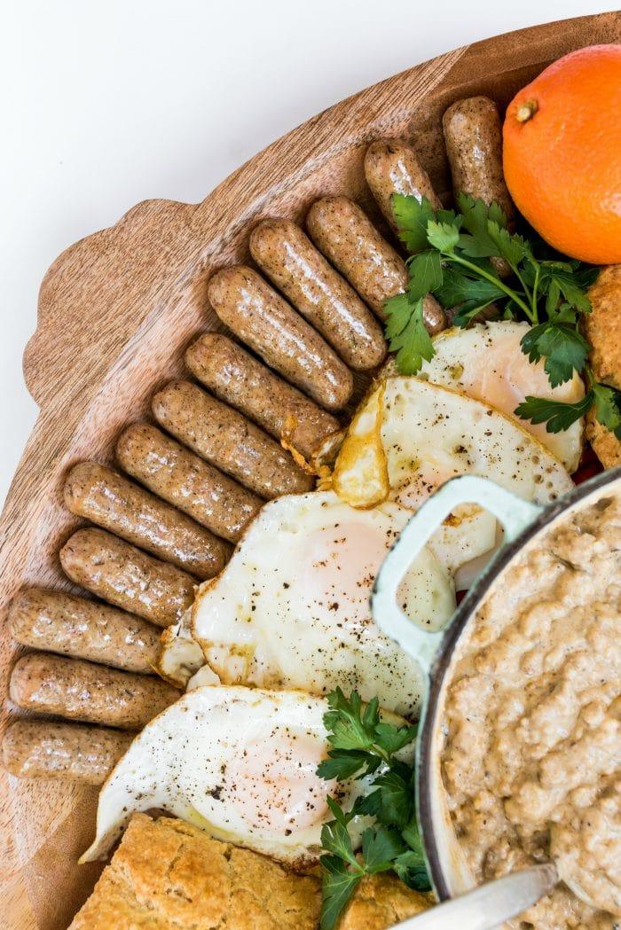 sausage links on a breakfast board