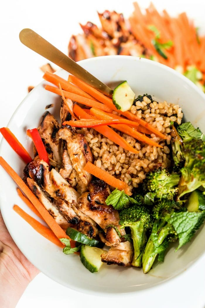 grilled chili lime chicken rice bowl