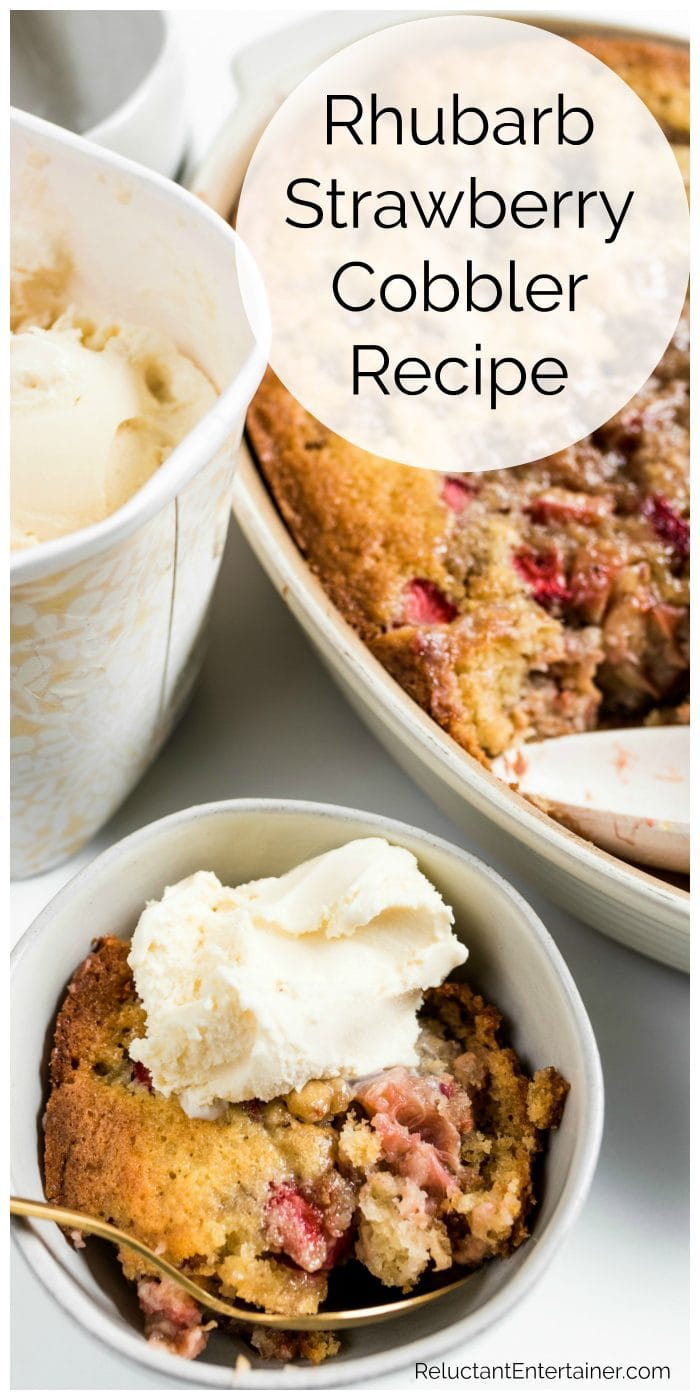 rhubarb strawberry cobbler with a small bowl serving, with vanilla ice cream on top