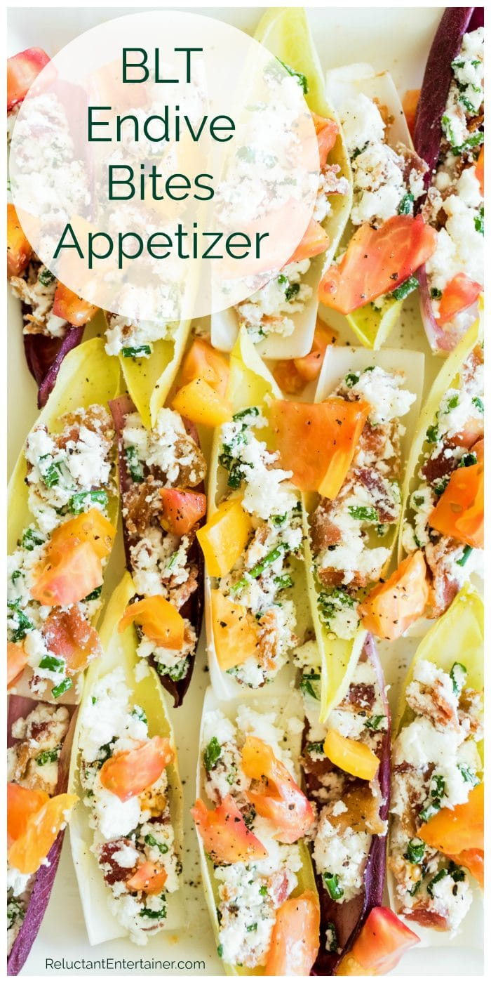 BLT Endive Appetizer with heirloom tomatoes