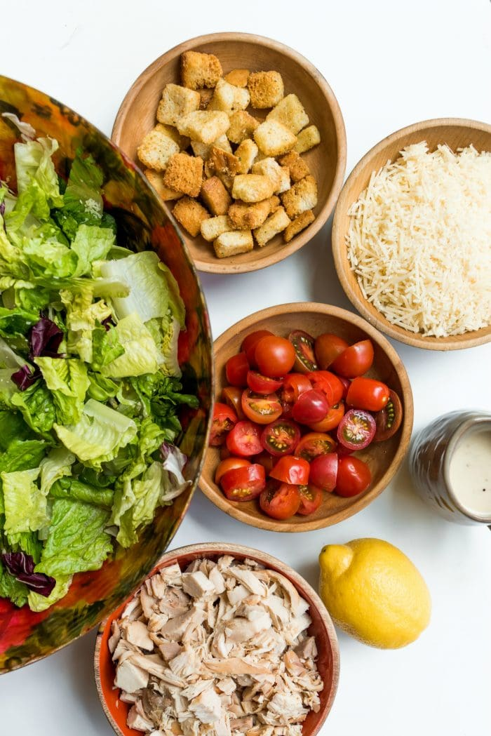 Caesar Salads ingredients deconstructed