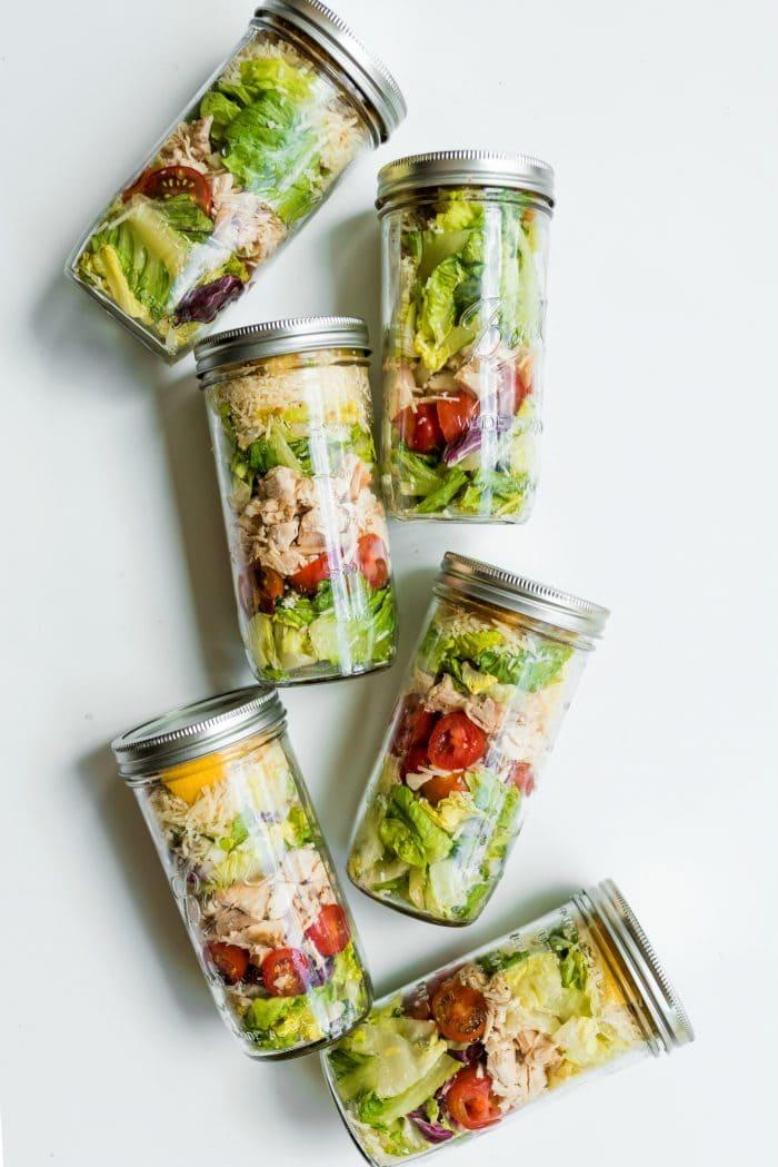 Jars of Caesar Salads