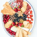 oval tray with red, white, and blue foods for the 4th of july