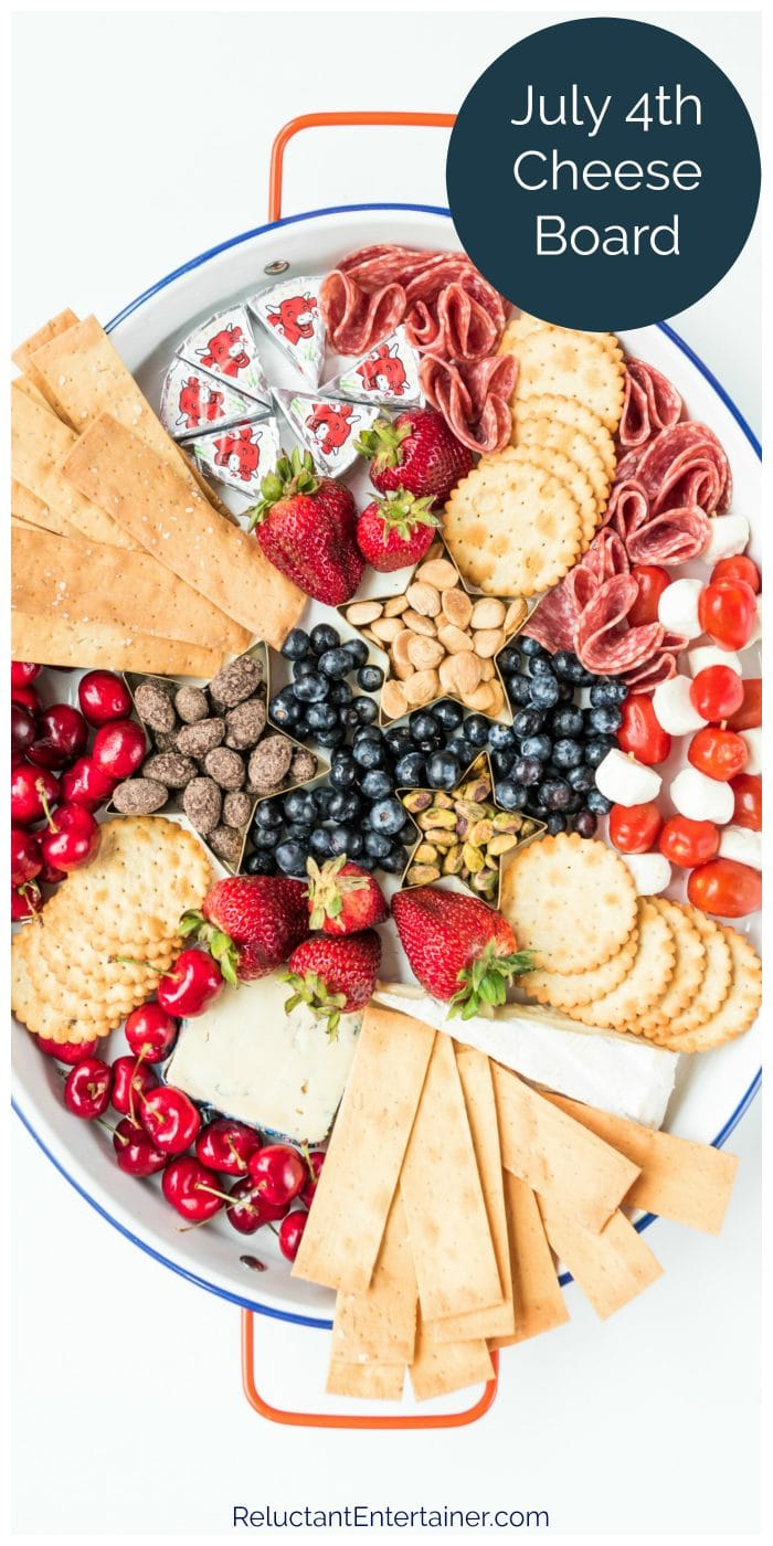 july 4th oval platter of foods with red, white, and blue colors
