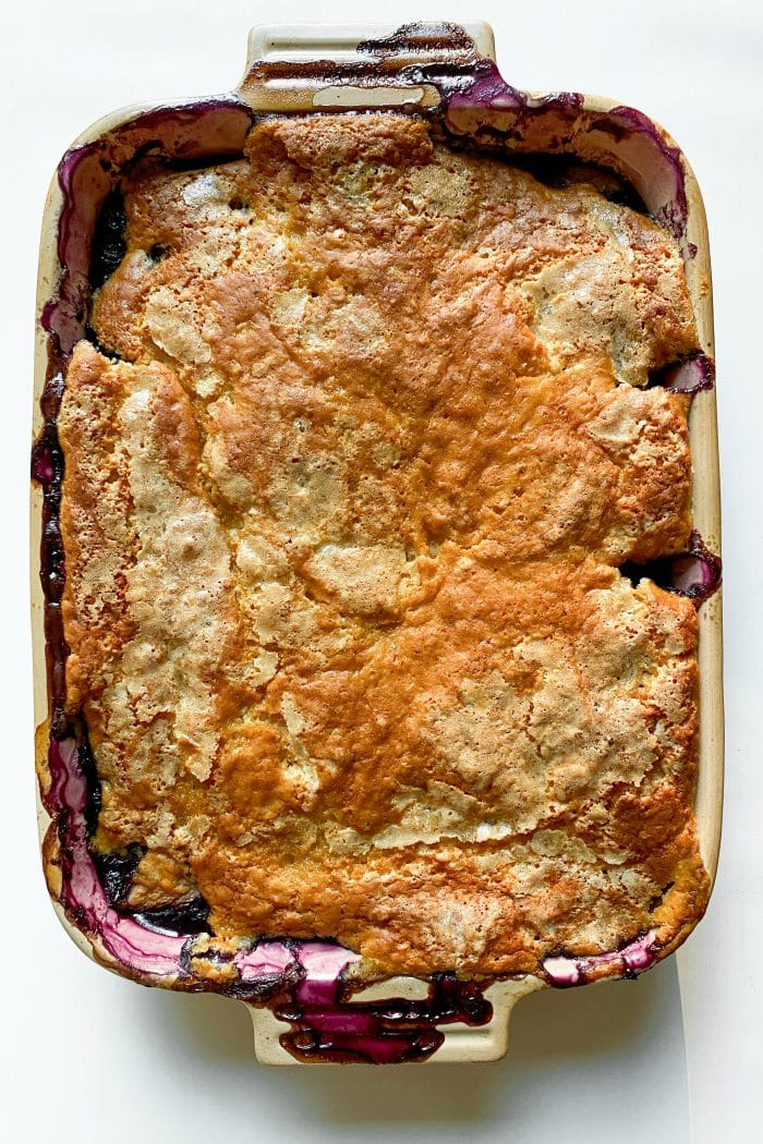 9 x 13 pan of blueberry and peach cobbler
