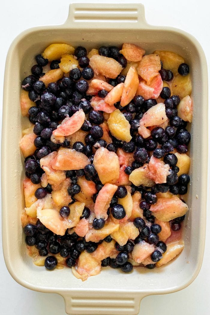 fresh blueberries and peaches in a 9 x 13 pan (without cobbler topping)