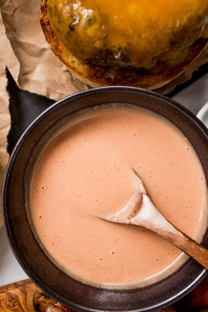 brown bowl of special pink sauce