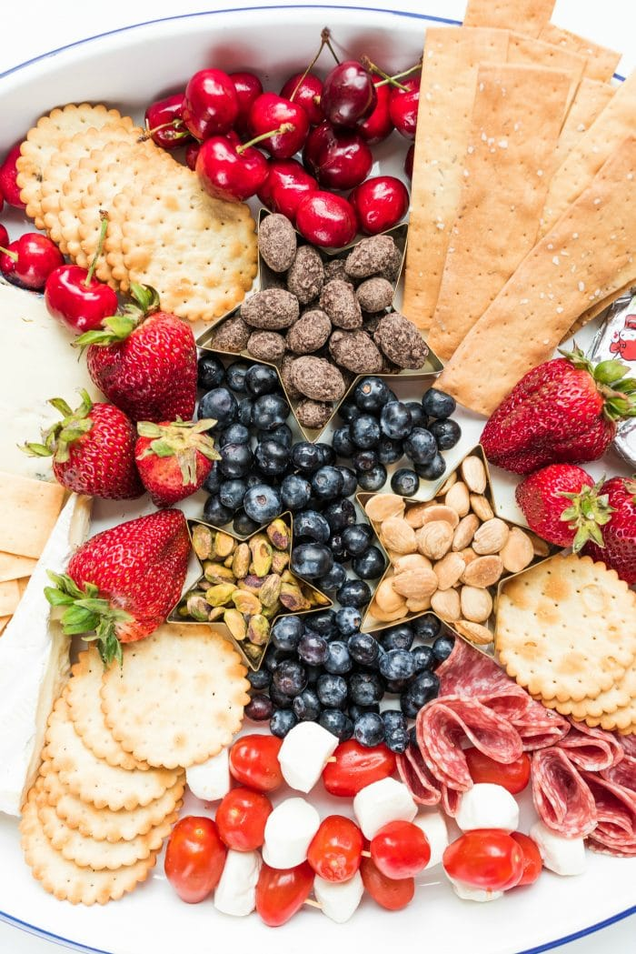 platter for 4th of July with red, white, and blue foods