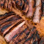 sliced flank steak marinated in balsamic and soy marinade