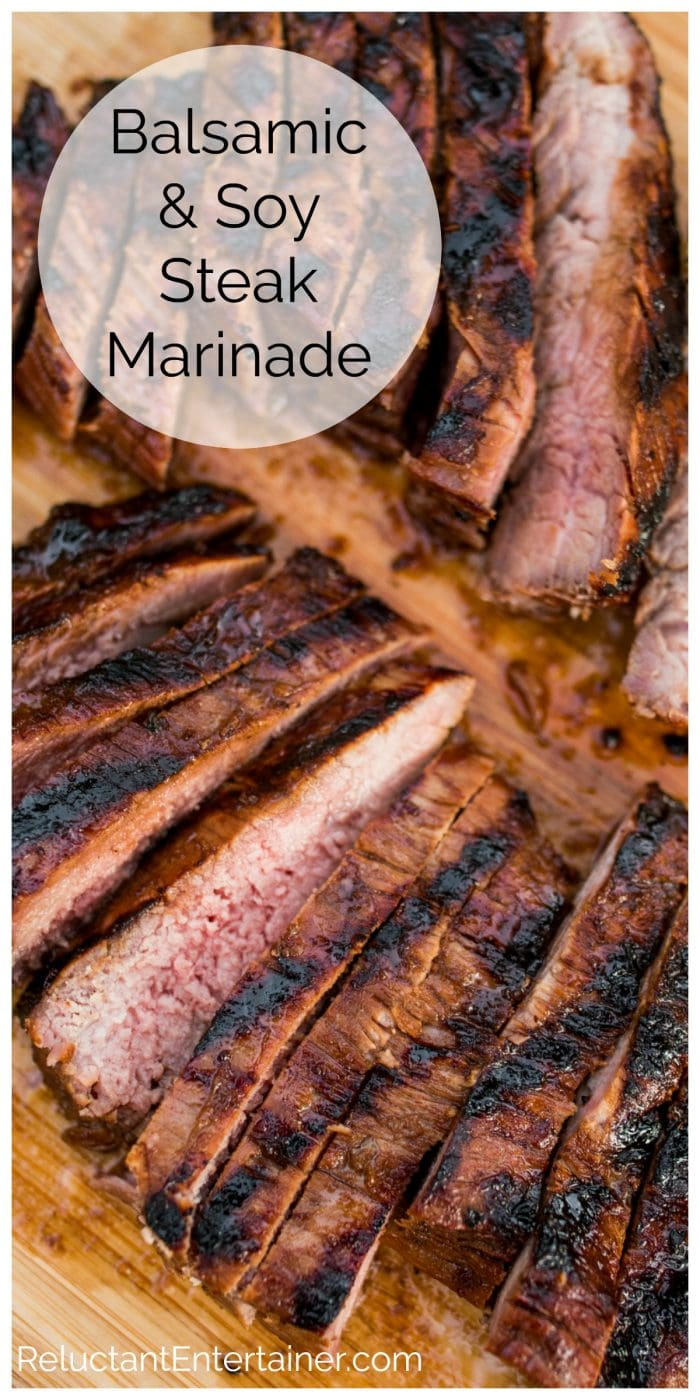 Balsamic Soy Steak Marinade on slices of flank steak