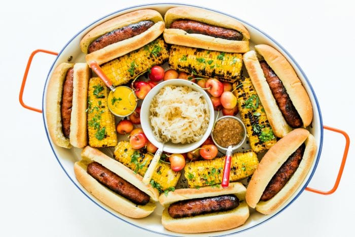 a Summer Brats and Sauerkraut Tray