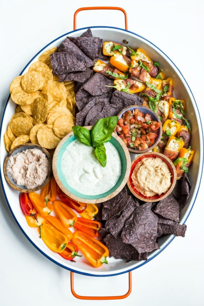 oval plattter with chips and dips