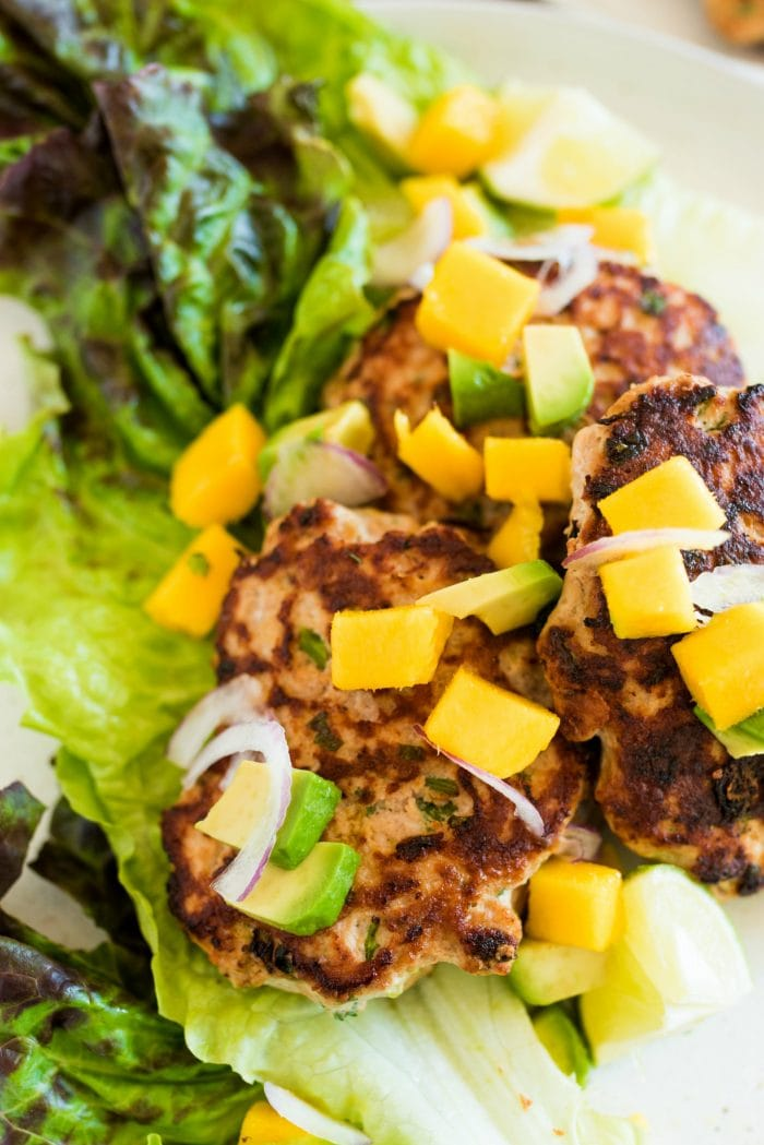 Savory Turkey Burgers with mango and avocado