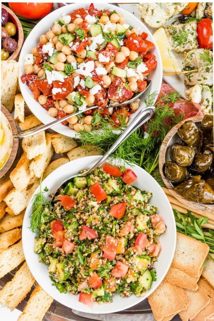 salads, dolmas, and bread sticks