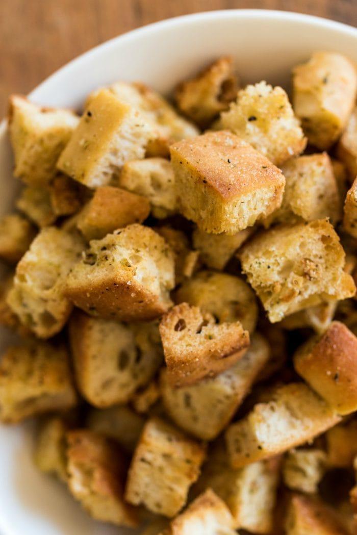 Homemade Italian Croutons, close up shot