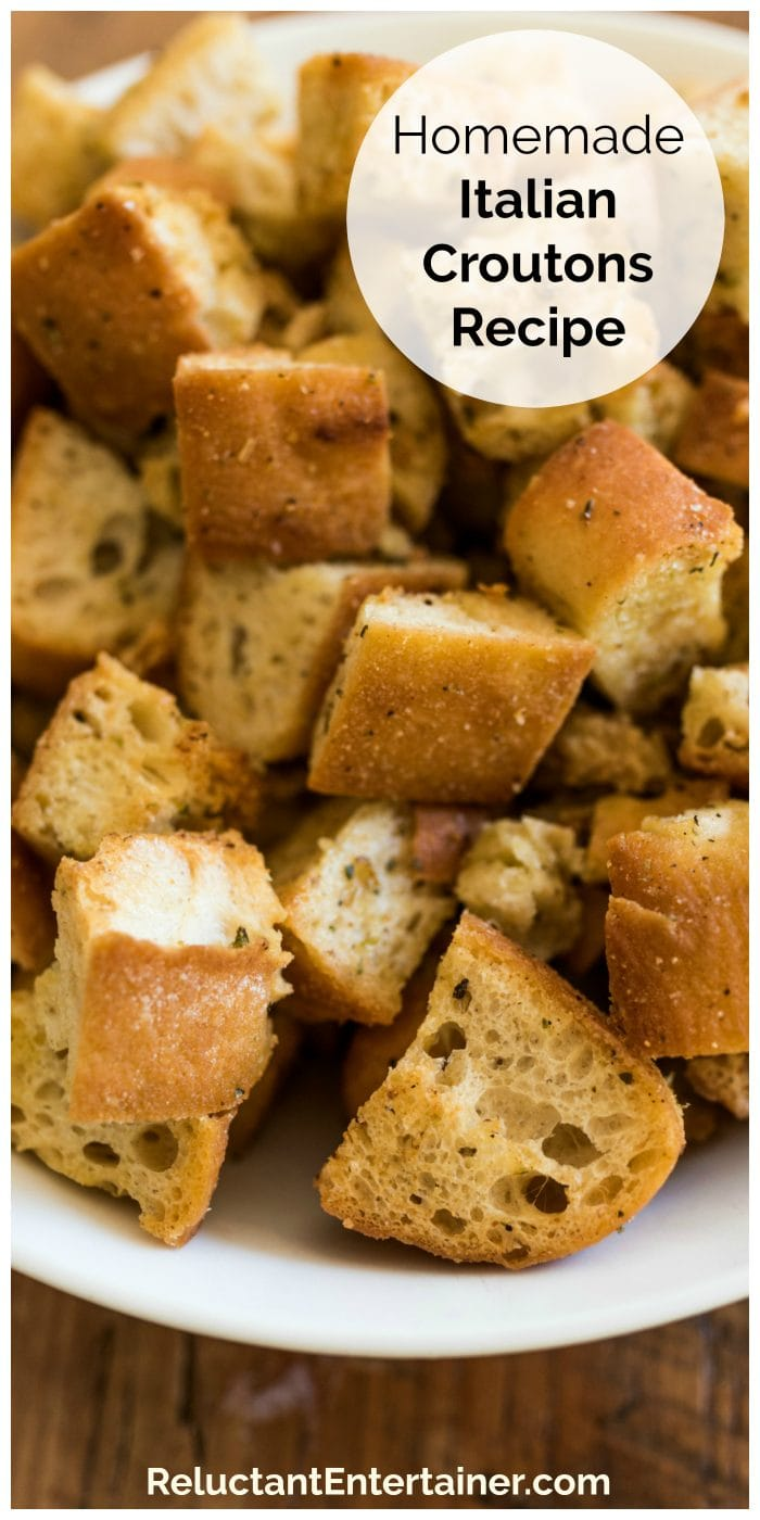 close up chunks of homemade croutons