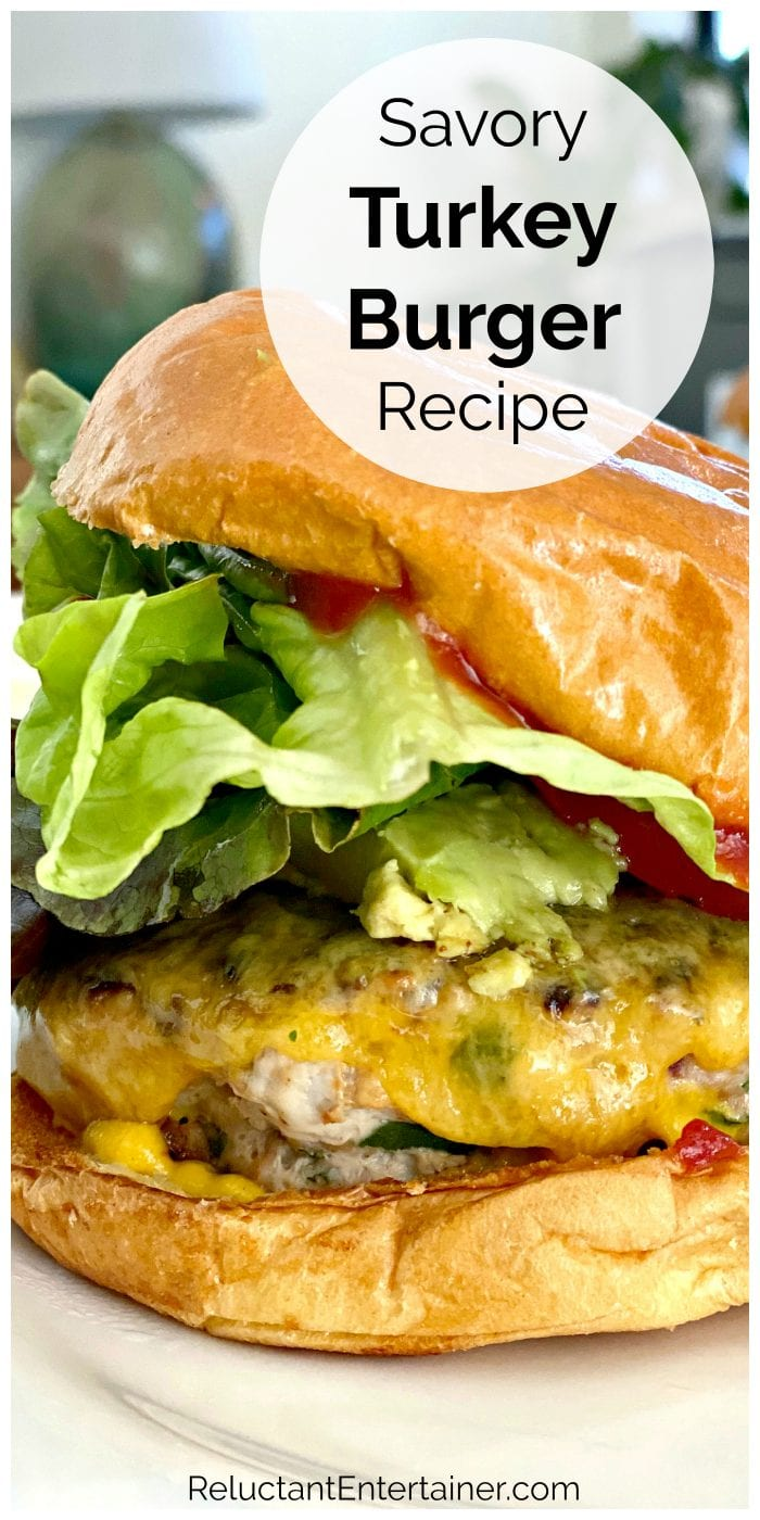 close up Savory Turkey Burger with cheese