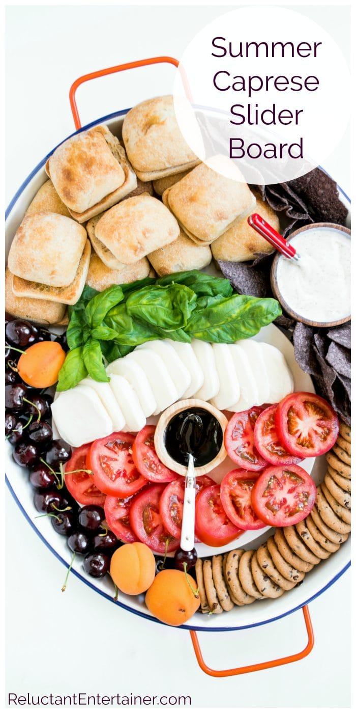 oval platter of deconstructed caprese sandwiches