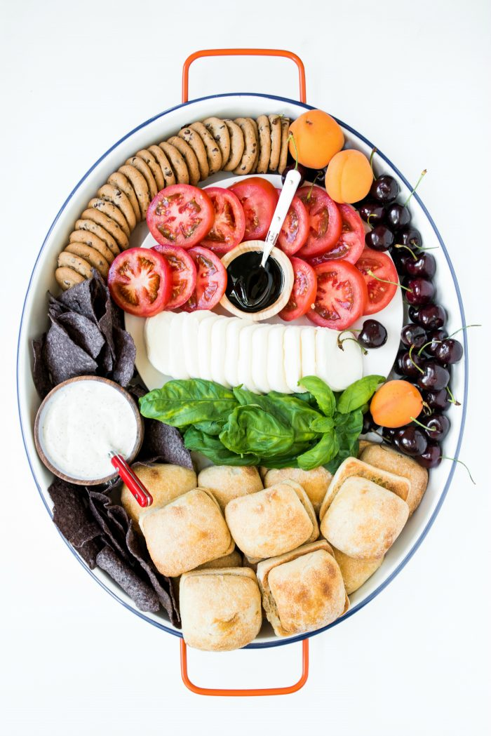 caprese slider sandwiches on a platter