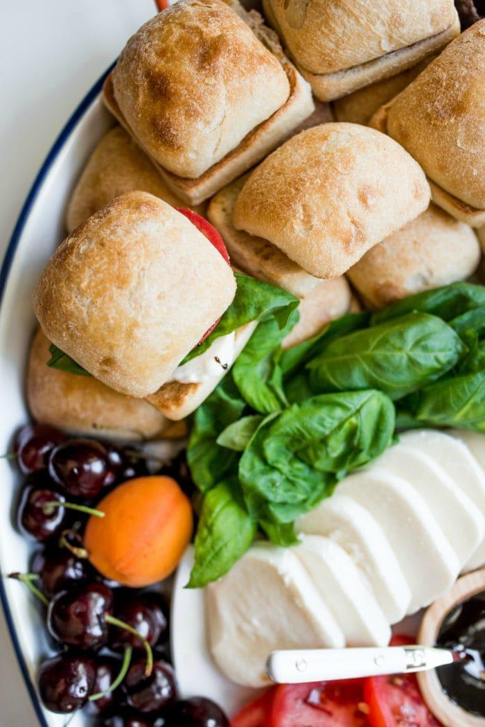 close up caprese sandwich slider