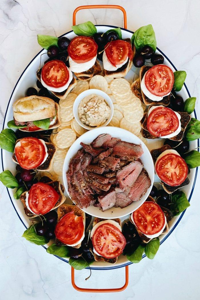 platter of tri tip caprese