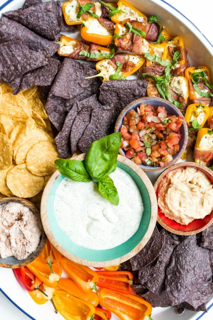 ranch dressing with corn chips and dips