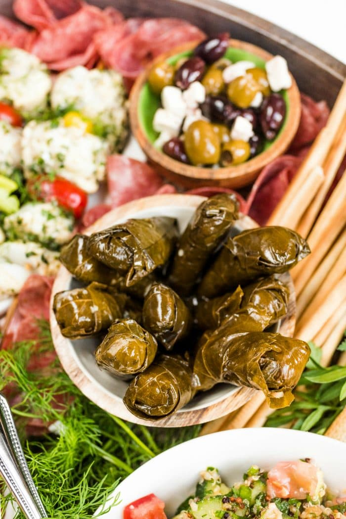a small bowl of dolmas