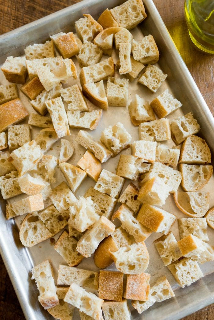 baking sheet of homemade Italian croutons bread