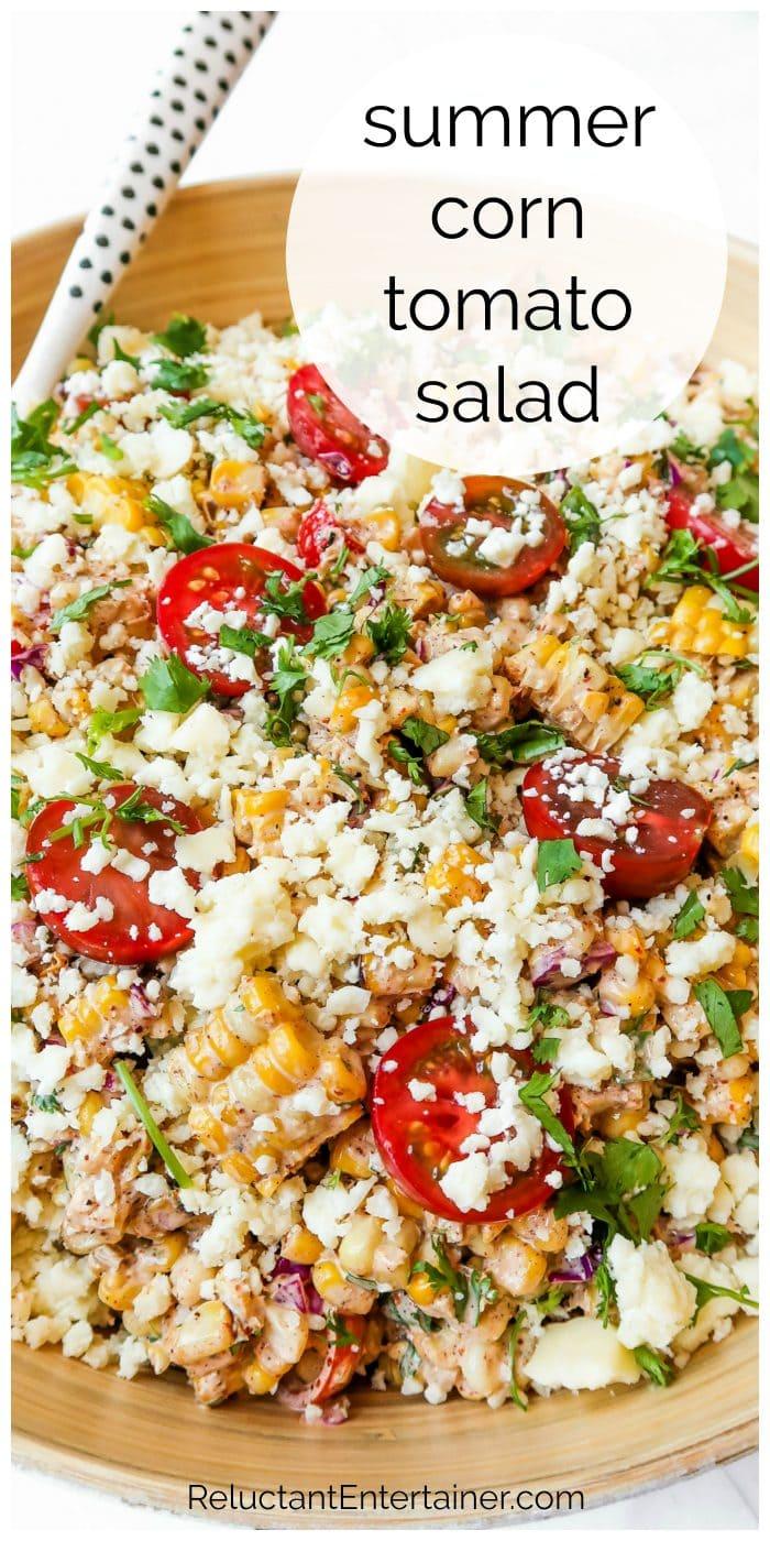 close up summer corn tomatoe salad
