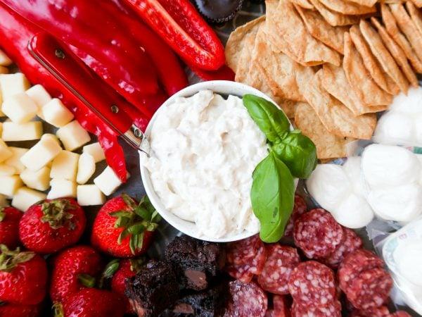 cauliflower dip with snacks