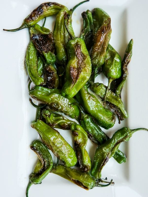 Hot grilled Shishito Peppers