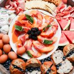 Ham Cheese Brunch Board with cantaloupe in the center