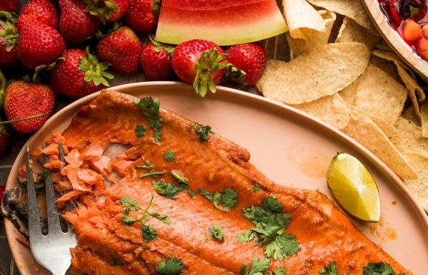 beautiful salmon filet on a plate, garnished with cilantro